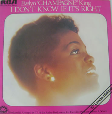 Evelyn 'Champagne' King - I Don't Know If Its Right 12 Inch Vinyl