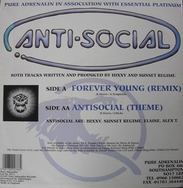 Anti Social - Hixxy and Sunset Regime - Forever Young (Remix) 12 Inch Vinyl