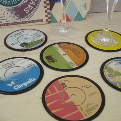 A Set Of Six Vinyl Record Coasters