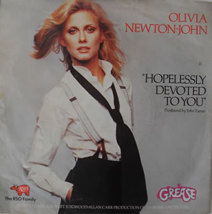Olivia Newton John - Hopelessly Devoted To You 7 inch vinyl