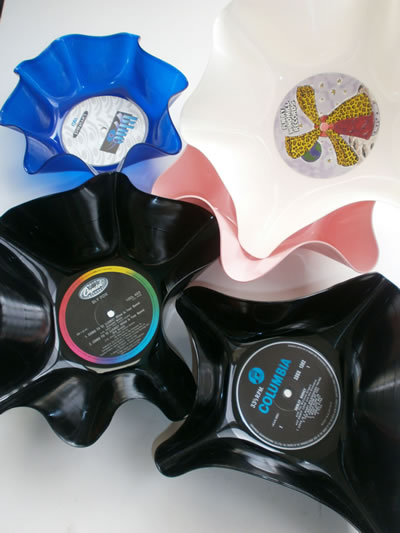 Retro Vinyl Record Bowls from 12 inch Vinyl