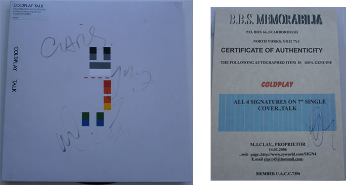 Coldplay - Talk 7 inch signed vinyl